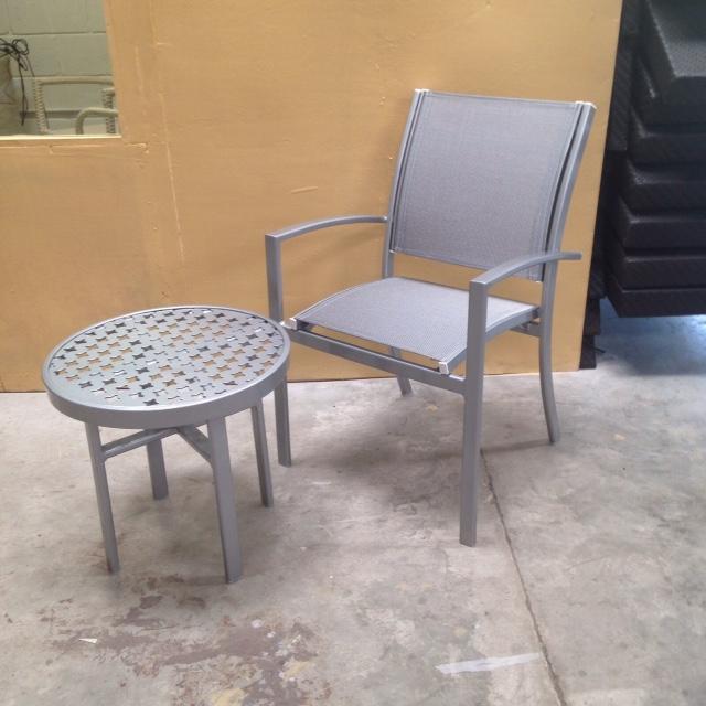 Barcelona Armchairs W Pool Comfort Side Tables Gloss Bonded Finish W Metallica Platinum